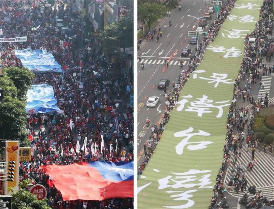 挺韓(左)、罷韓(右)大遊行21日同時登場。(合成圖/資料照/黃國峰、袁庭堯攝)