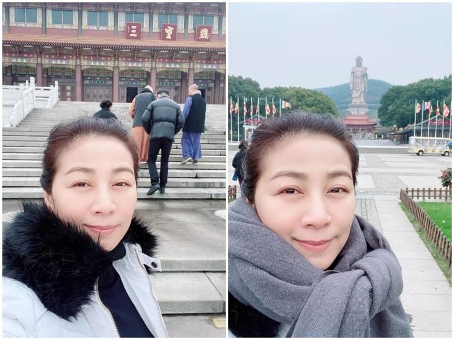 方文琳近日到江蘇無錫靈山大佛朝聖,她笑稱自己是「抱佛腳」。取自臉書