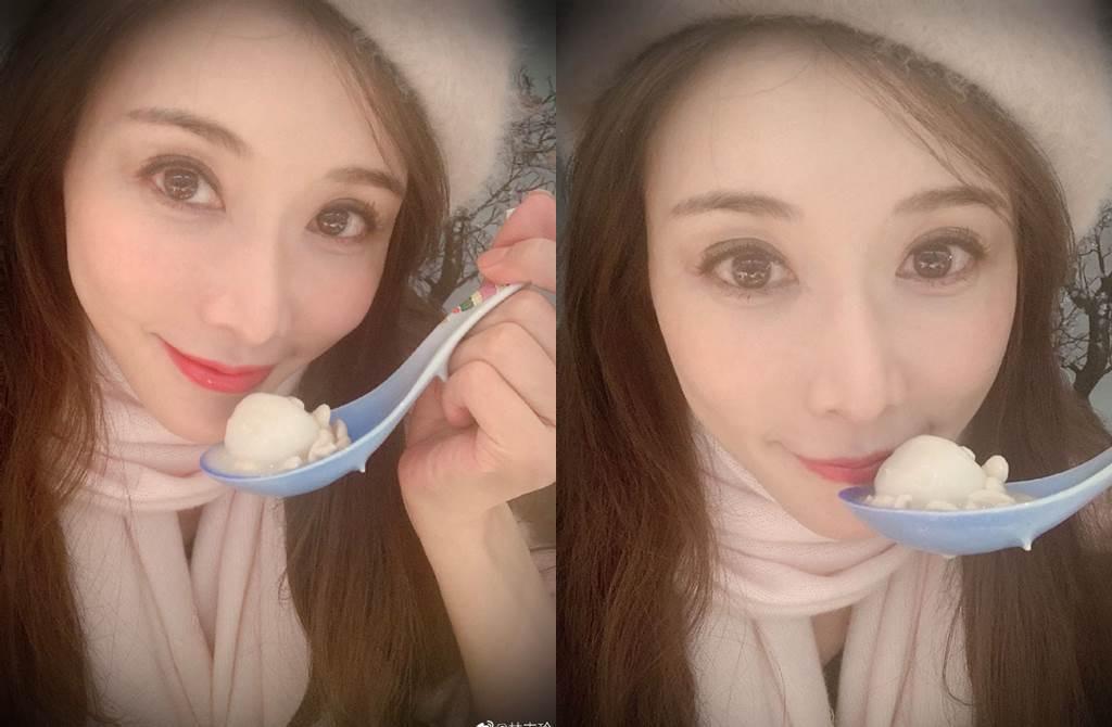 林志玲冬至曬美照。(圖/翻攝自微博、臉書)