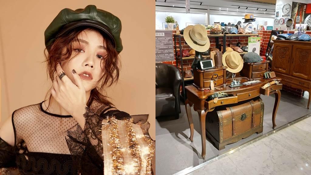 左圖:MODEL示範綠色創意家貝克帽。右圖:MajorLin實體展售櫃位於誠品生活敦南店1F,呈現質感紅磚復古風格。(圖/品牌提供)