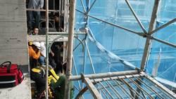 台東工人建地墜落4樓鷹架上 意識清楚