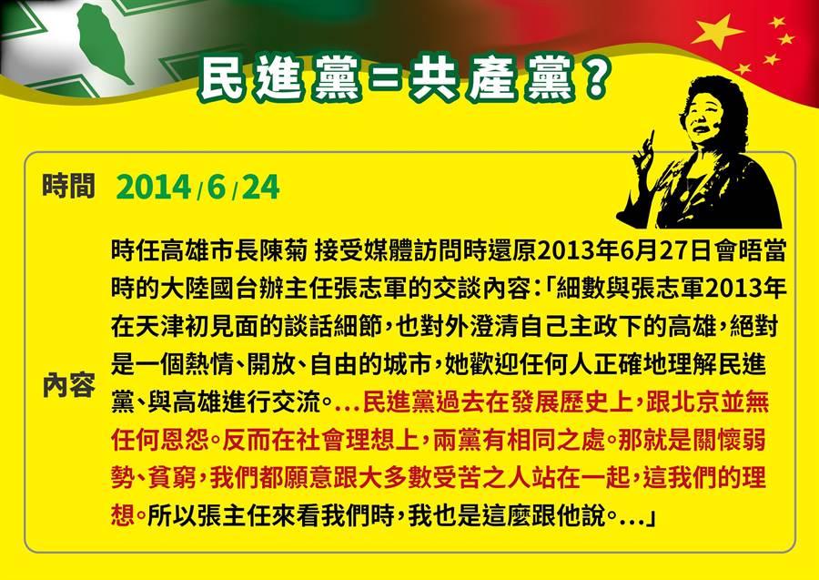 陳菊曾還原赴大陸時的說法。(國民黨提供)