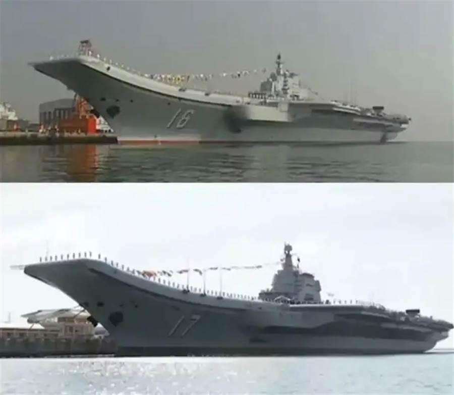 山東艦是在遼寧艦的基礎上進行部修改,總體布局與結構沒有大明顯更動,因此外形與主要配置也幾乎一樣。圖上是遼寧艦,圖下是山東艦。(圖/央視截圖)