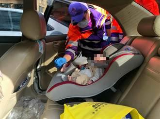 糊塗媽將滿月嬰反鎖車上 警破窗救人
