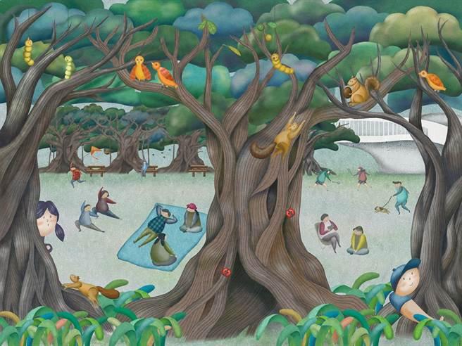 為回饋家鄉,陳興仲專注創作高雄形象作品。圖為他為衛武營國家藝術文化中心停車區所繪製的榕樹廣場插畫。(陳興仲提供/王寶兒傳真)