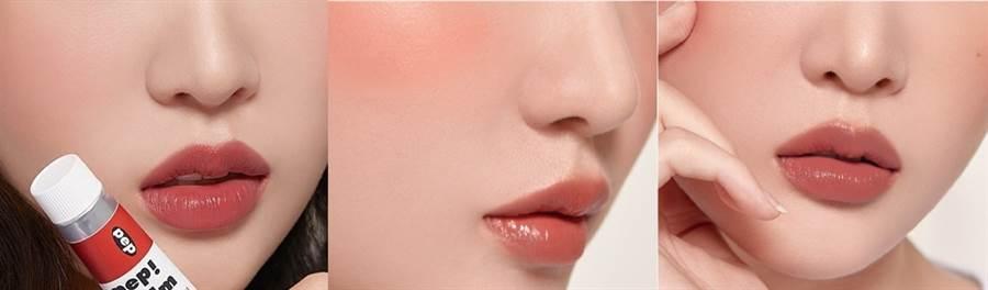 唇頰使用示範,左至右色號:001小豆紅、002小豆橘、004小豆粉。(圖/品牌提供)