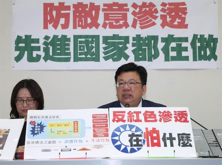 民進黨立法院黨團書記長李俊俋(右起)及李麗芬24日舉行記者會。(劉宗龍攝)