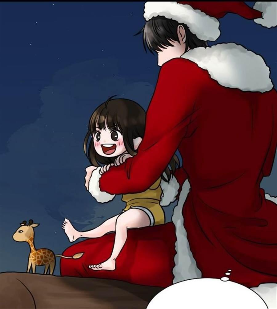 寶阿所繪製的聖誕老人,與過往大眾印象大不同,既沒有留有長長的白鬍子,也沒有騎乘麋鹿所拉的雪橇,而是放有麋鹿玩偶的掃帚。(LINE WEBTOON提供/王寶兒台北傳真)