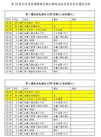 彰化立委候選人公辦電視政見發表會  要創10小時漫長馬拉松