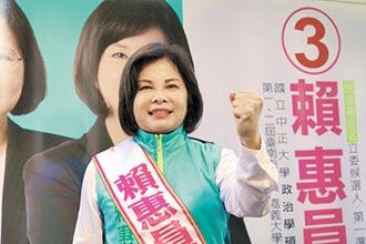 台南第一選區 賴惠員擁優勢 蔡育輝人氣旺