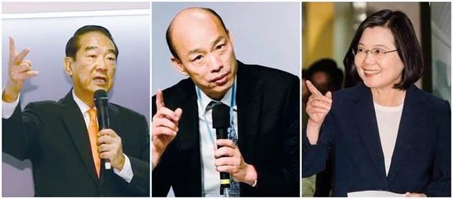 親民黨總統候選人宋楚瑜(左)、國民黨總統候選人韓國瑜(中)、總統蔡英文(右)。