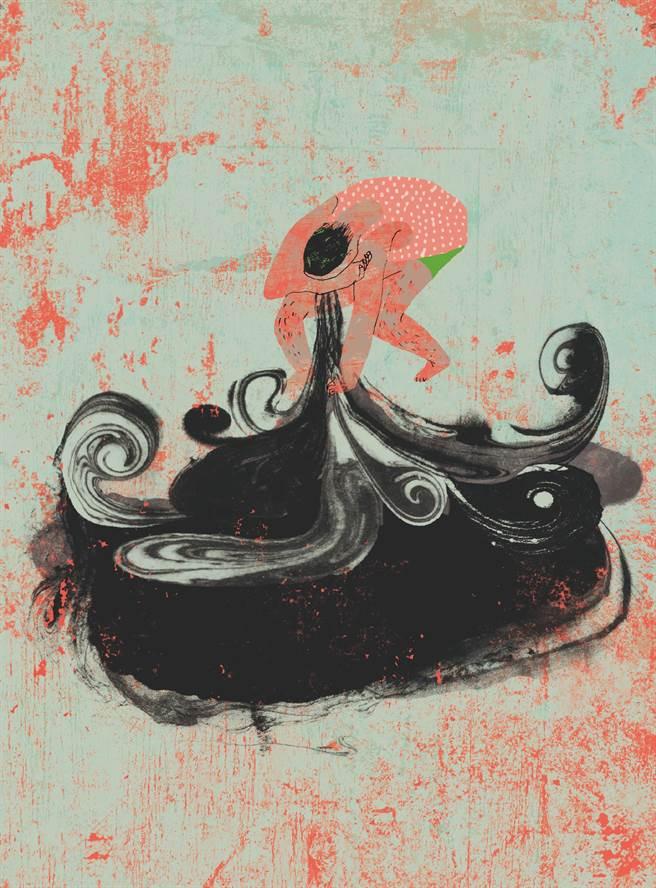 阿尼默認為,情緒是抽象的,但也可以運用畫將其具體化,如男人沮喪的情緒,便化為陣陣黑煙,像是氣體一般流瀉至屋內各個角落。(大塊文化提供/王寶兒台北傳真)