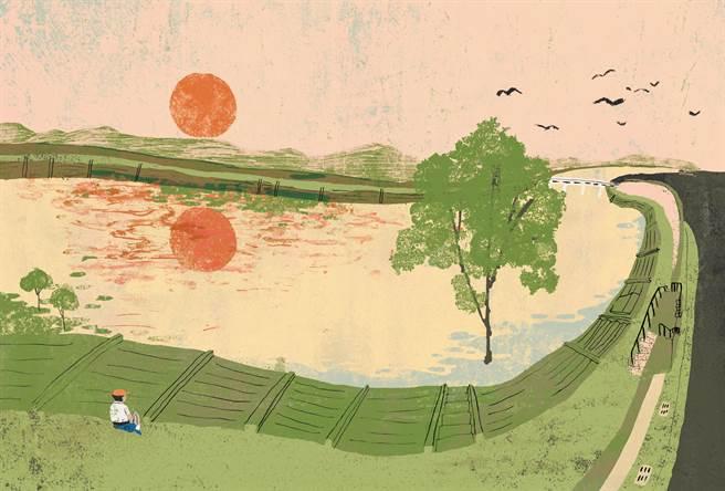 阿尼默以自身經歷改編為短篇漫畫〈旱溪〉,在其中可見台灣鄉土風情。(大塊文化提供/王寶兒台北傳真)