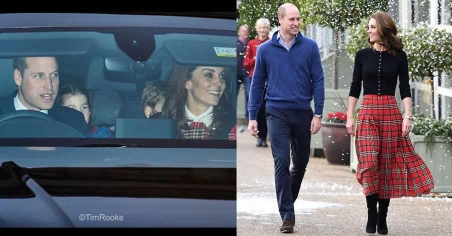 凱特威廉夫婦帶著小孩們一同現身與英國女王共進聖誕午餐。(圖/IG@catherinecambridgestyles、joydreamslink)