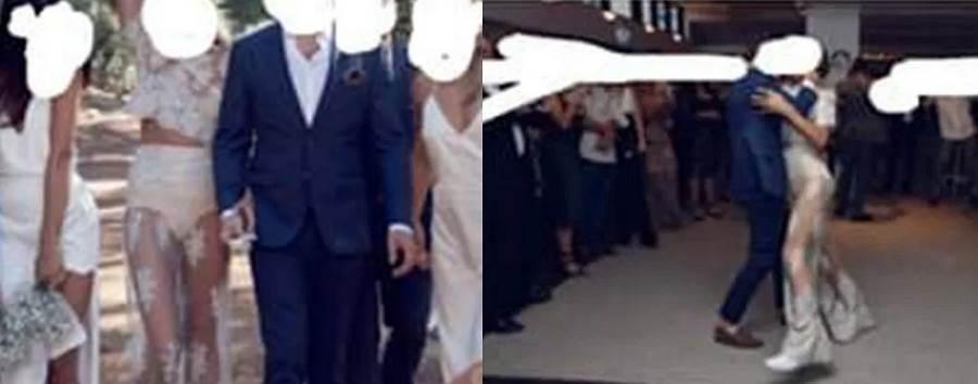 新娘穿了一襲蕾絲透視款白紗,婚紗的設計臀部剛好呈現一包白色,遭批穿阿嬤內褲。(圖/ 摘自《Reddit》)