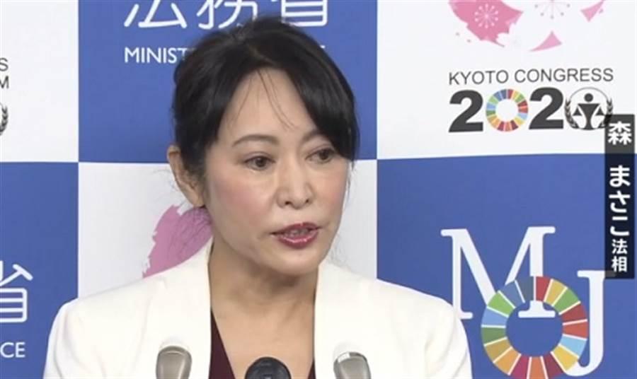 日本新任法務大臣森雅子上任以來首次簽核死刑執行令,為福岡滅門血案案犯執行絞刑。(圖/日本電視畫面截圖)