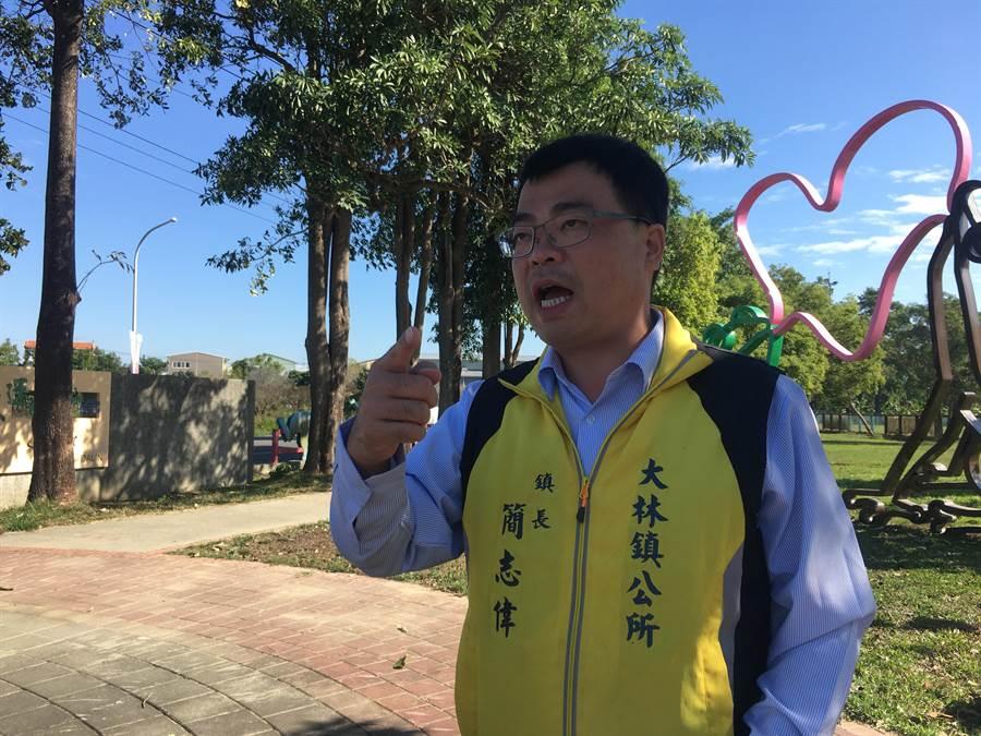 大林鎮長簡志偉認為,運動綠廊所屬跟代管單位皆非公所,卻由公所每年編列經費維運,希望縣府能正視。(張亦惠攝)