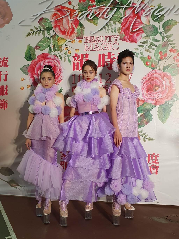 畢業校友、凱渥模特兒陳靜也特地返校擔任模特兒,用實際行動為學弟妹加油。(葉書宏攝)