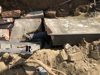 彰化花壇工地圍牆倒塌 2工人重壓命危