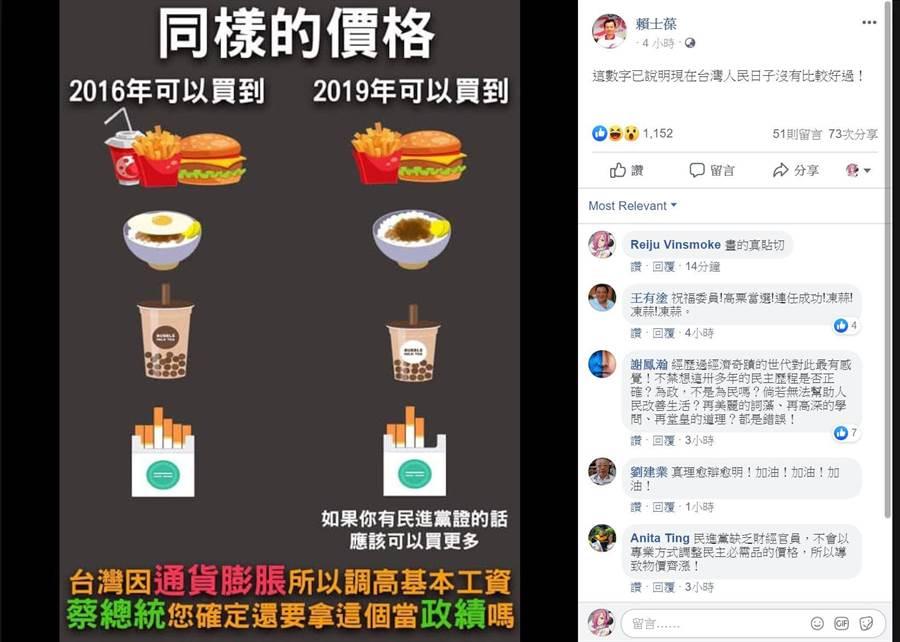 賴士葆在臉書,拿民生食品做對比指出,台灣因「通貨膨脹」所以調高基本工資,但蔡英文卻還拿這個當政績。(摘自賴士葆臉書)