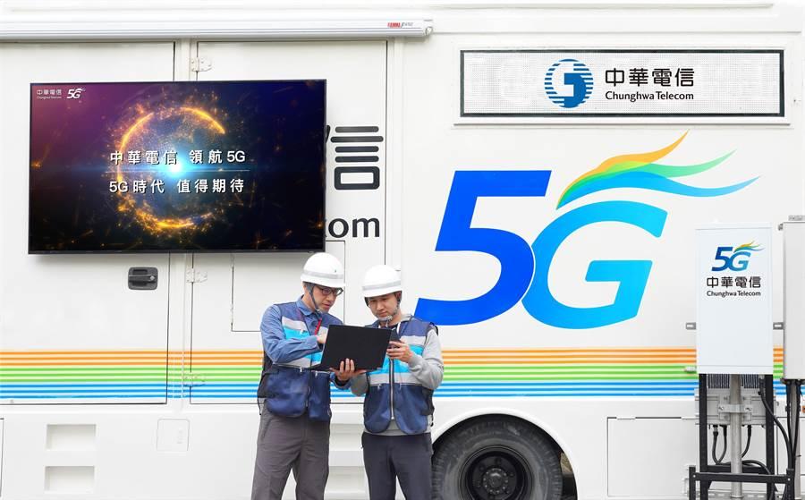 邁向2020 5G元年,中華電信於北市府前跨年現場戶外5G測速展示,讓用戶搶先體驗。(中華電信提供/黃慧雯台北傳真)