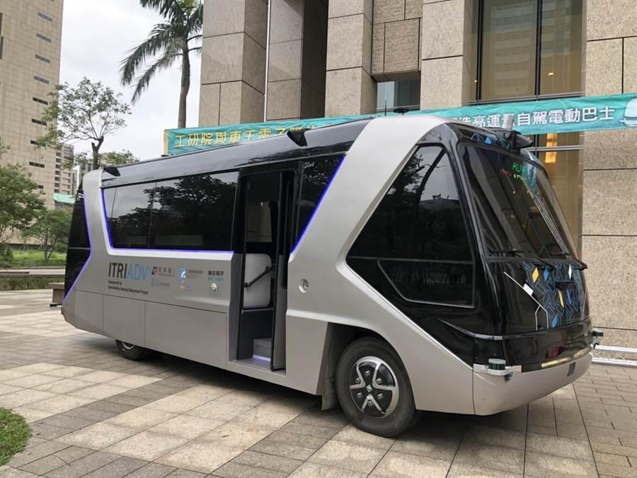 工研院與車王電簽約智能合作,2021年前要打造10部國產自動駕駛電動巴士,在台北市當公車行駛。(圖:王玉樹攝)