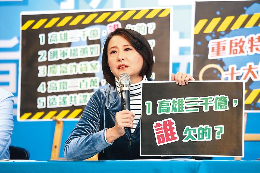 國民黨27日召開「重啟特偵組!十大疑案追追追」記者會,台北市議員王鴻薇表示,高雄市在民進黨執政下累積負債超過3000億元,絕大多數還是在前市長陳菊時代欠下,特偵組成立要讓真相大白。(杜宜諳攝)