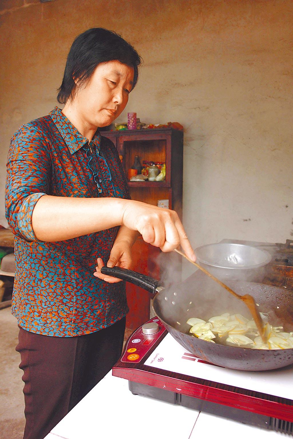 河南一農村村民使用電磁爐炒菜。(新華社資料照片)