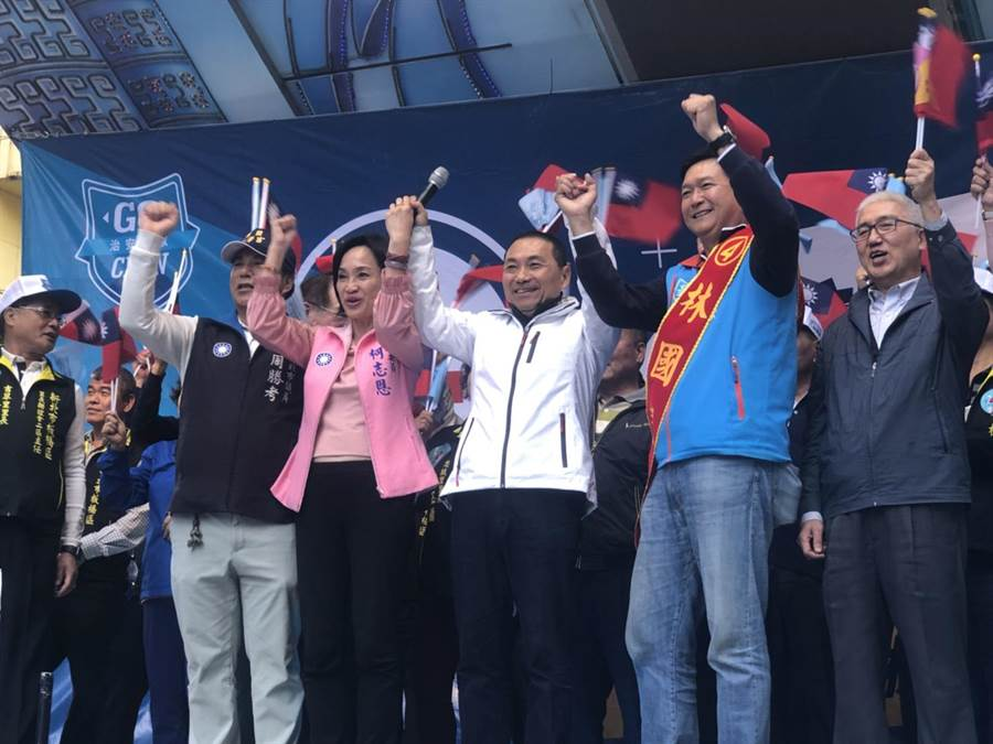 新北市長侯友宜28日為新北市第六選區立委候選人林國春站台。(戴上容攝)