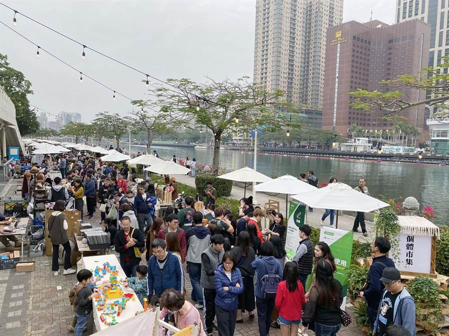 愛河三輪觀光美食市集28日登場,預計兩天將帶來20萬遊客。(柯宗緯攝)