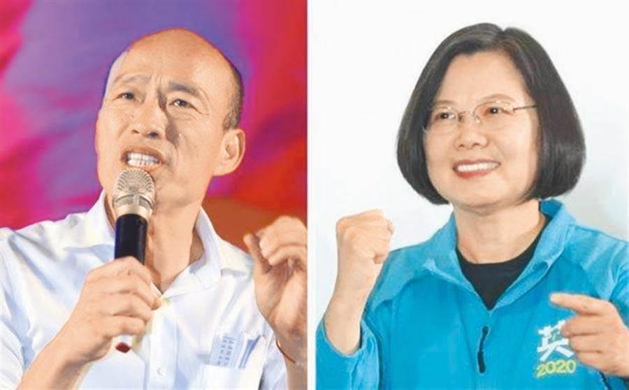 國民黨總統候選人韓國瑜(左)、總統蔡英文(右)。(合成圖/中時資料照)