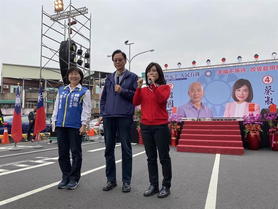 前行政院長張善政出席蔡淑惠競選總部成立造勢會。(程炳璋攝)
