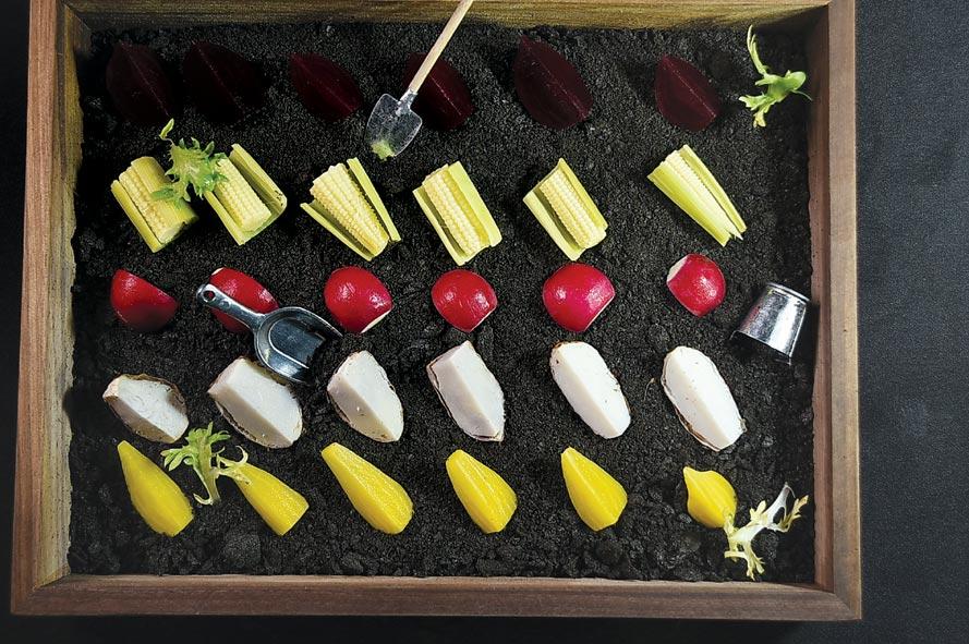 「沙拉吧區」有一迷你「微型蔬菜花園」,讓食客自由取食在地有機食材。圖/姚舜