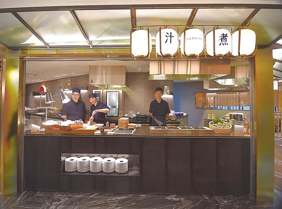饗賓集團創〈旭集和食集錦〉日料BUFFET品牌,以「一區一名店」概念設計九大餐區。圖/姚舜