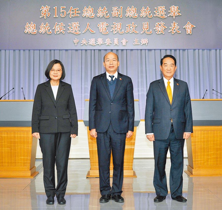2020總統候選人最後1場公辦電視政見會27日登場,蔡英文總統(左起)、國民黨候選人韓國瑜、親民黨候選人宋楚瑜,第3度同台闡述政見。(中選會提供)