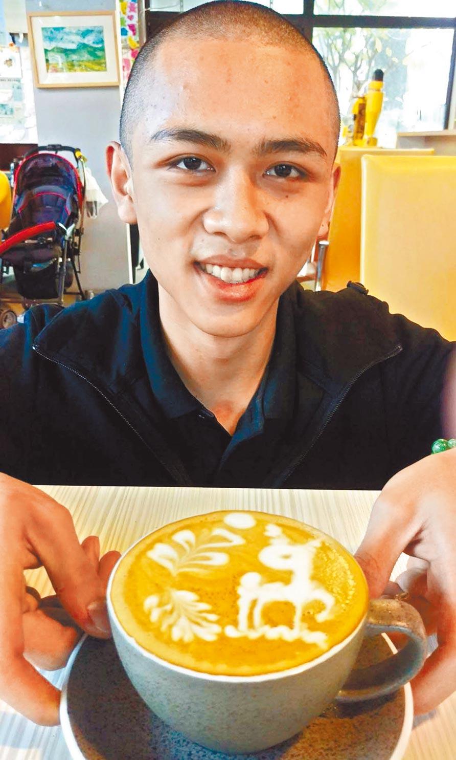 飛夢林咖啡館培養青少年有一技之長,找回新的生活目標。18歲的張育明國中時常翹課,進入飛夢林後喜歡上咖啡,如今已考取咖啡種子教師證書。(潘建志攝)