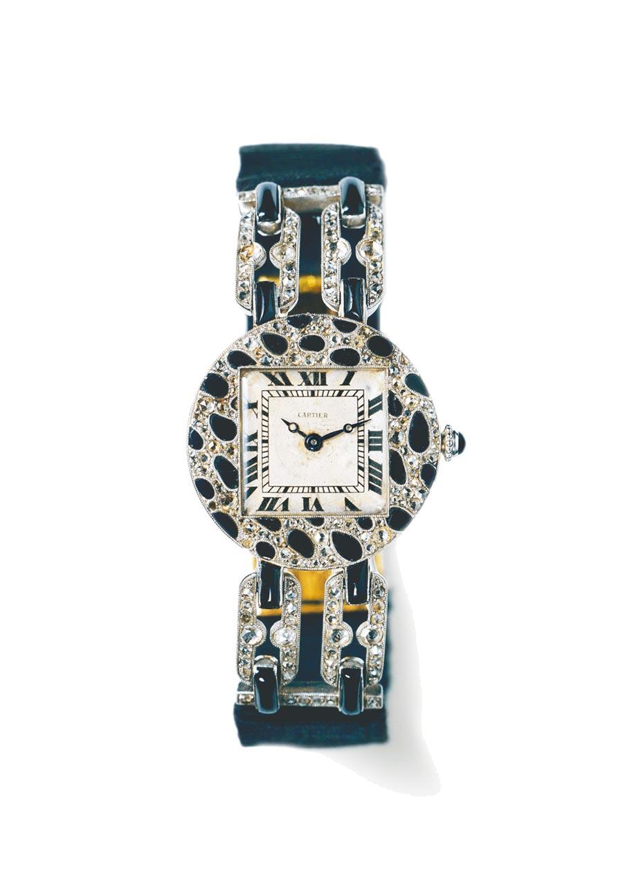 1914年,卡地亞首次將美洲豹花紋運用在一只珠寶腕表上。(Cartier提供)