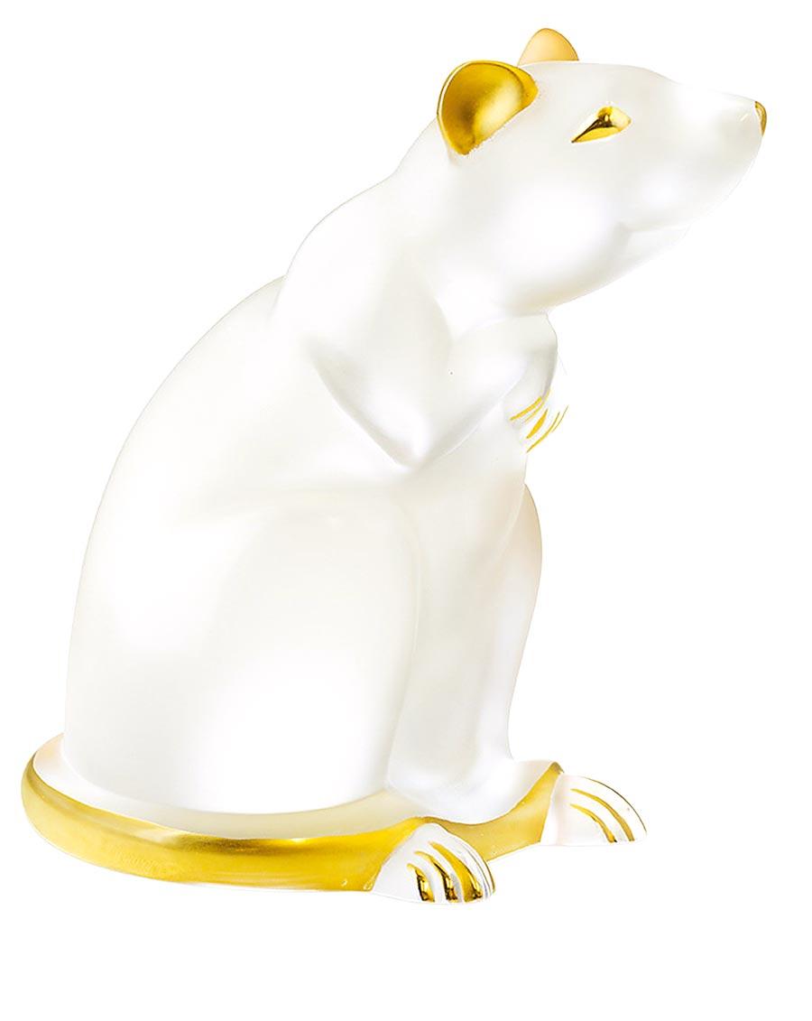LALIQUE金吉笑鼠手描金水晶擺件,2萬8000元。(集雅廊提供)