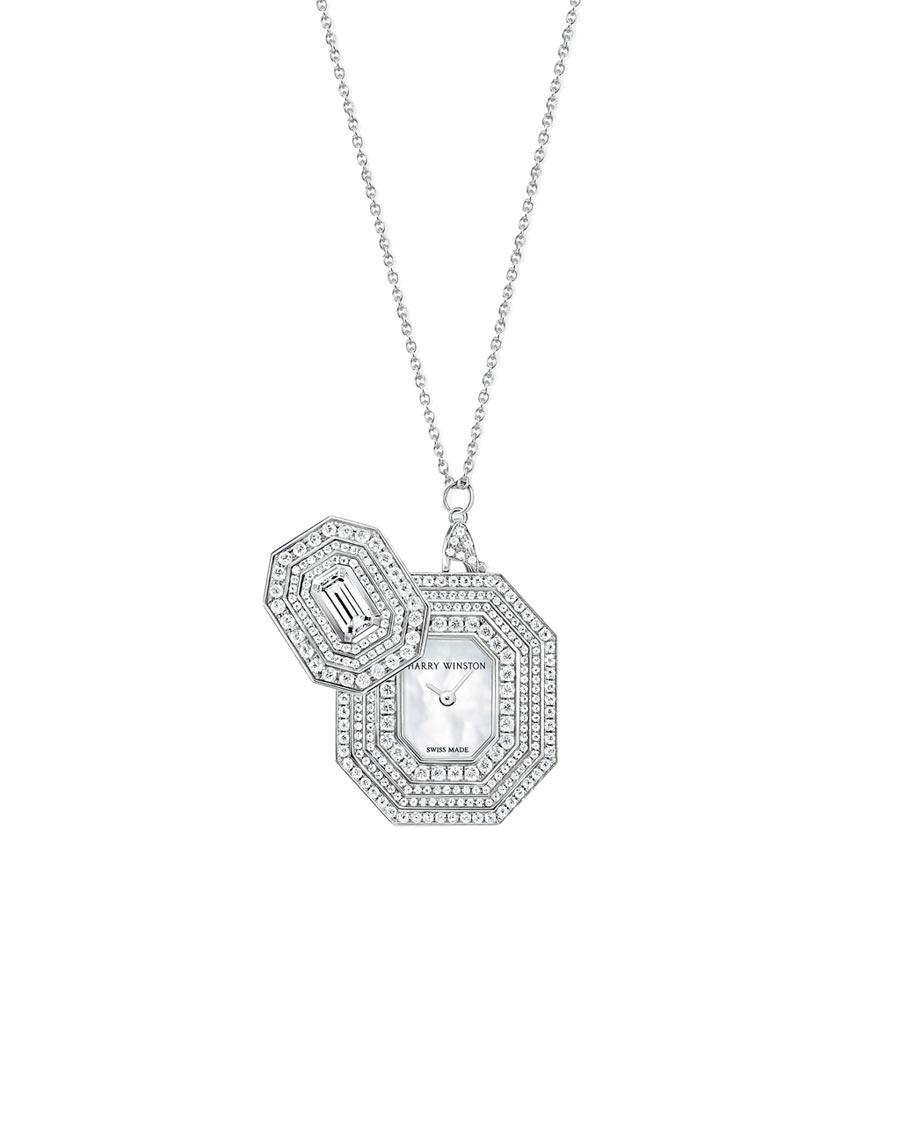 海瑞溫斯頓Emerald Signature時計胸針兼鍊墜。(Harry Winston提供)