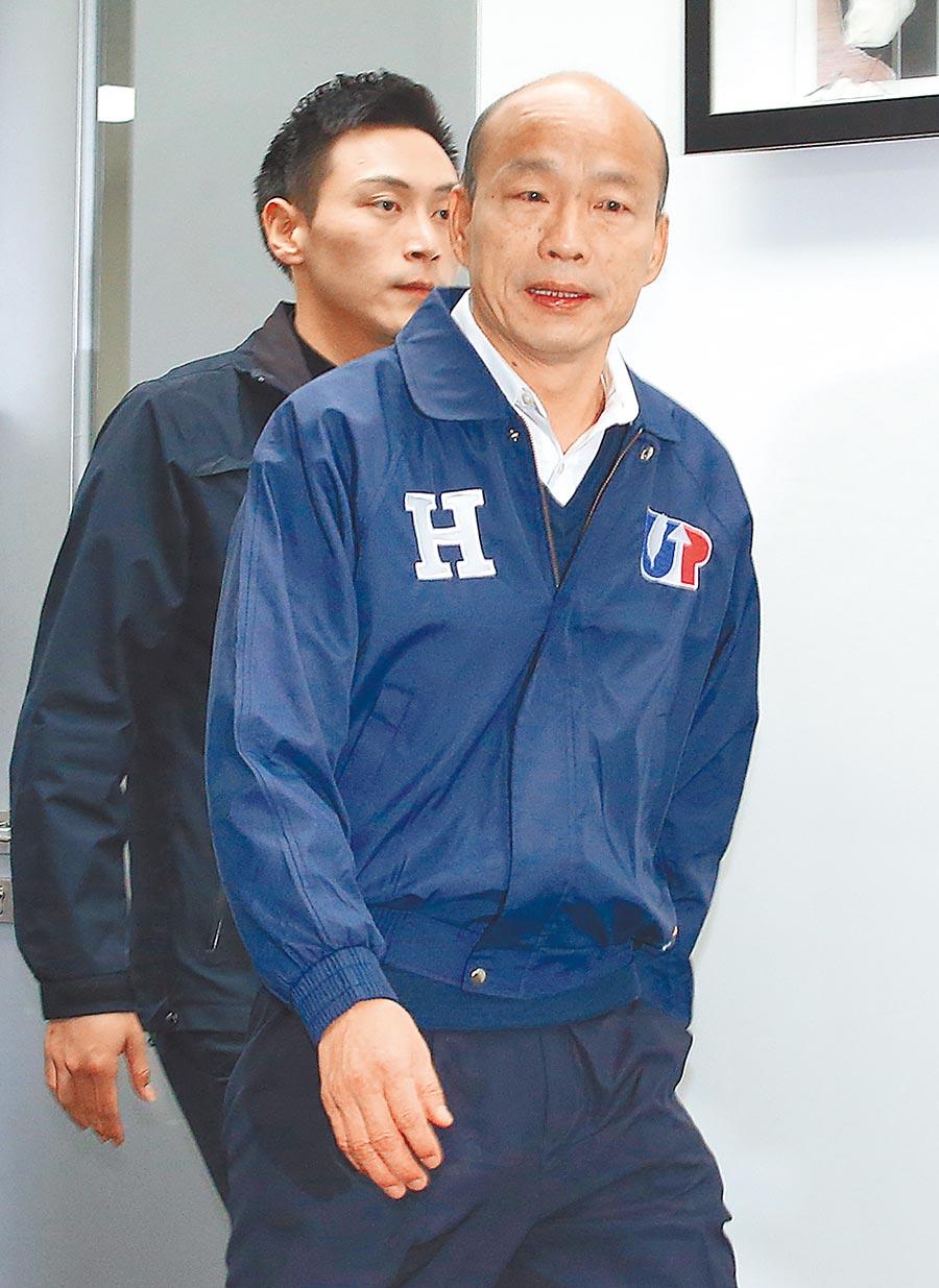 國民黨總統候選人韓國瑜27日針對民進黨力拚「反滲透法」三讀,表示該法已使大陸廣大台商、台生惶恐不安。(本報系記者趙雙傑攝)