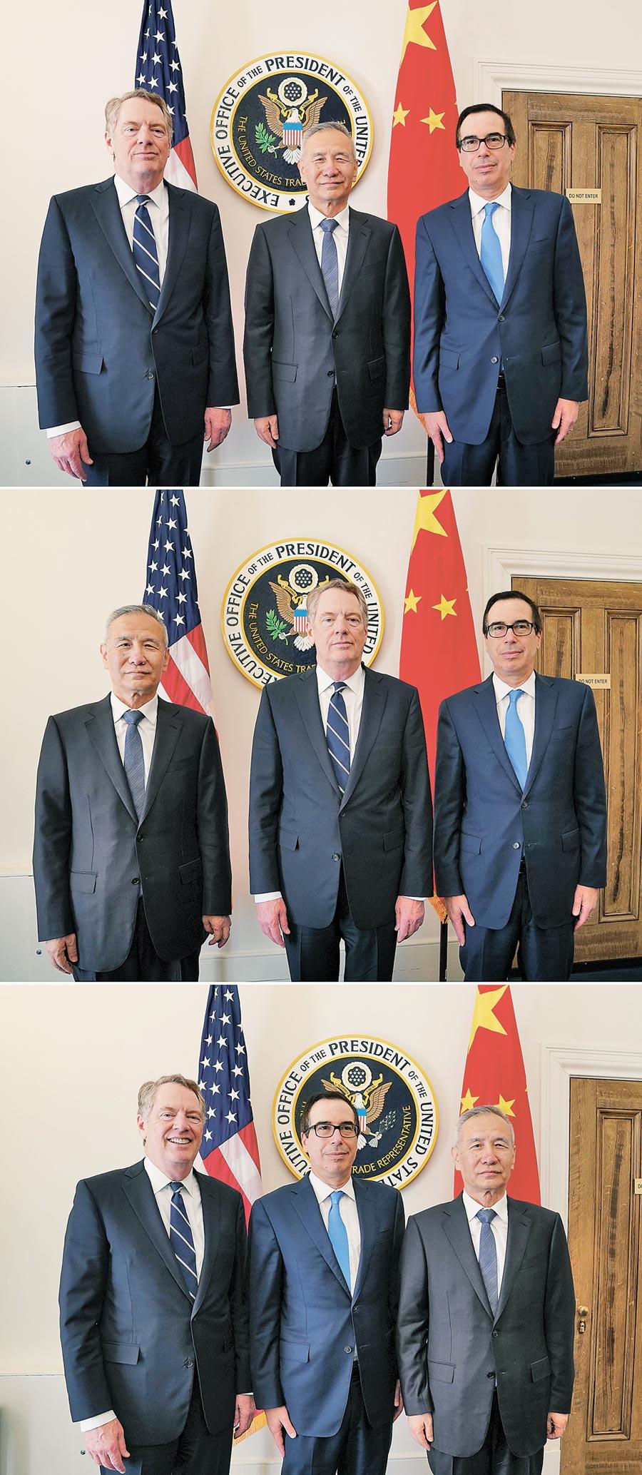 美東時間10月10日上午,大陸國務院副總理劉鶴(右)與美國貿易代表萊特希澤(左)、財政部長努欽(中)進行經貿磋商。 (新華社)