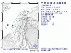 15:31宜蘭南澳規模3.1地震 最大震度南澳4級