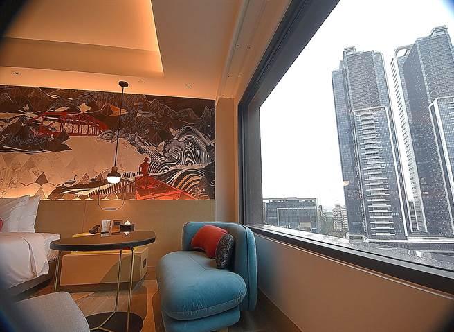 位在大直商圈蛋黃區的台北大直英迪格酒店景觀視野良好,有些房間透過窗可以遠觀台北101大樓,近看台北萬豪酒店。(圖/姚舜)