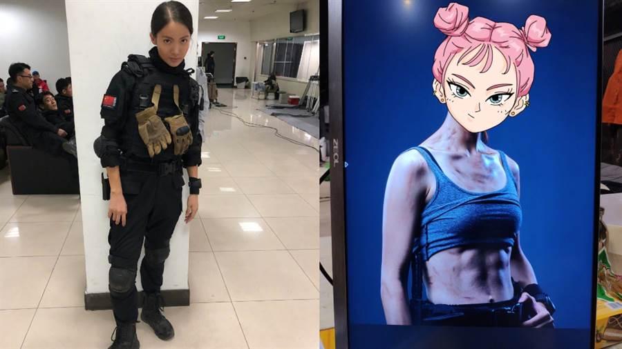 大陸女星金晨出演警匪電影《特警隊》練出超強馬甲線。(圖/摘自微博@金晨)