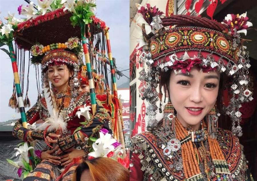 一名排灣族女網友上網分享自己婚禮的照片,絕美顏值令眾人驚艷。(圖翻攝自FB/爆廢公社公開版)