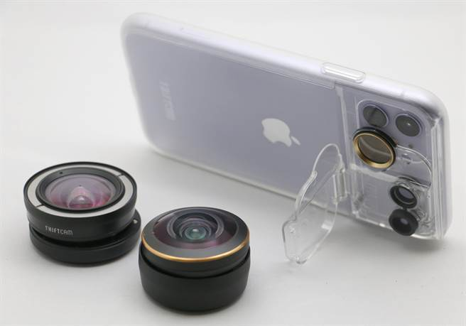 ShiftCam透明旅行攝影組iPhone 11與兩顆高階外接鏡頭 。(黃慧雯攝)