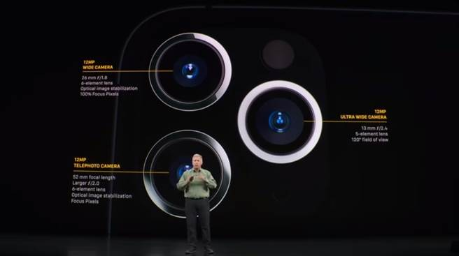 Apple 2019 秋季發表會介紹的iPhone 11 Pro系列相機規格。(摘自YouTube)