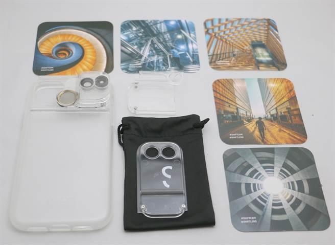 ShiftCam透明旅行攝影組iPhone 11盒內所有配件(包含5張相片卡)。(黃慧雯攝)