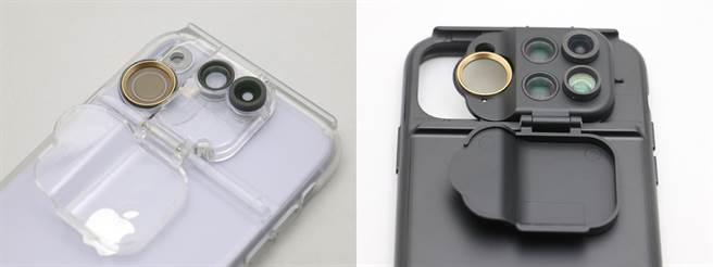 ShiftCam透明旅行攝影組iPhone 11(左)以及ShiftCam旅行攝影組iPhone 11 Pro Max近照。(黃慧雯攝)