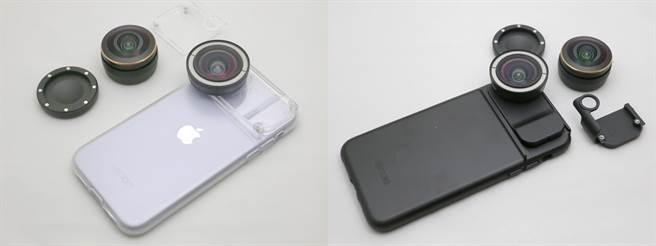 ShiftCam透明旅行攝影組iPhone 11(左)以及ShiftCam旅行攝影組iPhone 11 Pro Max都附有可換裝高階鏡頭的配件(主鏡頭範例照),透明旅行組搭配的轉接配件就是透明的。(黃慧雯攝)
